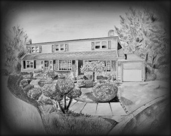 Custom House Drawing, House Portrait, House Pencil Sketch, Housewarming Gift, Landscape Drawing, Christmas Gift, Gift for Parents