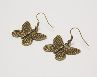 Gift for daughter gift for her charm butterfly jewelry bronze earrings butterfly earrings insect jewelry novelty earrings wing jewelry gifts