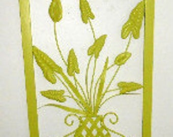Large, Metal, Wall Decor, Upcycled, Vintage, Chartreuse, Hand Painted, Floral Design, Shabby Chic