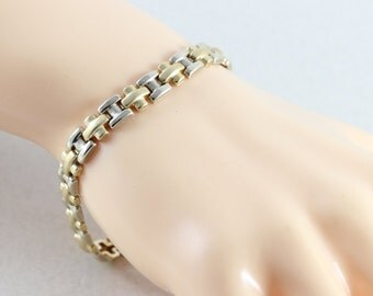 10K Yellow and White Gold Bracelet link bracelet tennis bracelet