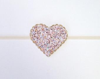 White Ivory Gold Glitter Heart | Glitter Heart Headband | Glitter Heart Hair Clip | Gold White Glitter Heart Headband/Clip Fancy Hair Clip