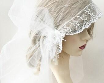 """Wedding veil, Ivory veil,  Juliet cap veil, 20s style veil, Gatsby style veil, bridal veil, wedding veil, 47"""" long, fingertip length,"""