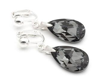 Black Swarovski Clip On Earrings Big Crystal Black Clip on Earrings Swarovski Silver Clip On Earrings Bridal Jewelry Crystal Bridal Clip On