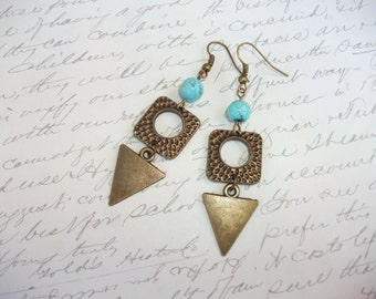 Antique bronze hammered geometric earrings with turquoise stones