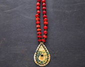 Leather and Vintage Tin Teardrop Paisley Necklace with Red Coral Chain, Paisley Necklace, Coral Necklace, Hippie Necklace.
