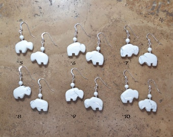 Zuni Fetish style White Howlite Bison/Buffalo Earrings, beaded with Sterling Silver (Choose from 2 pairs)