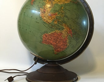 Antique Illuminated Globe, Vintage 12 inch Replogle Precision Globe, Antique Glass Globe, Collectible Replogle Globe, Lighted Replogle Globe