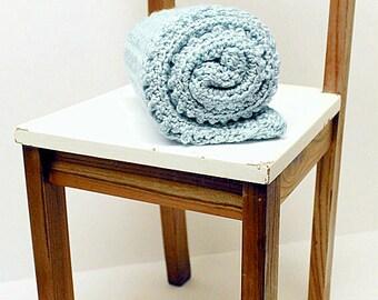 Baby Blue Crochet Baby Blanket, Chunky Security Blanket, Receiving Blanket, Baby Girl Heirloom Crib Blanket
