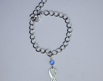 Prostate Cancer Awareness Ribbon Bracelet - Prostate Cancer Support, Survivor, Memorial Jewelry