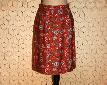 90s Skirt Petite Medium Women Red Floral Print Skirt Midi Rayon Boho Womens Skirts 1990s Coldwater Creek Vintage Clothing Womens Clothing