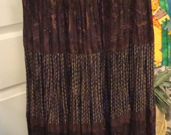 Vintage Brown, Blue Flowers Stonebridge Skirt - Size Small - Excellent Condition!!
