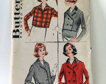 Butterick 9112 Vintage 1950's Sewing Pattern: Short Jacket with Single- and Double-Breasted Variations, Size 12 (32-25-34)