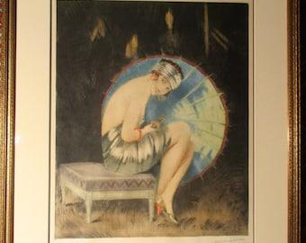 "William Ablett's ""The Blue Parasol"" Aquatint"