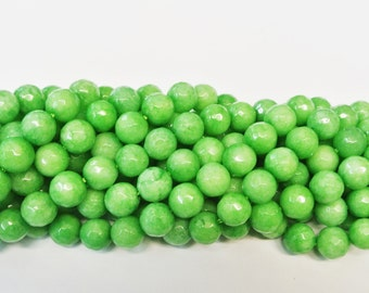 10mm Round Beads, Green Agate, Round  Green Agate Beads, 1 Strand, Round Beads, Natural Stone Beads, Faceted Agate Beads, Wholesale Beads