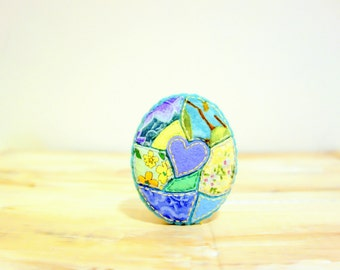 Sale-Summer Lake Mosaic Brooch. Yellow, Lilac and Mint. Felt Fabric Textile Brooch. Heart Apploque Brooch. Mosaic Jewelry.