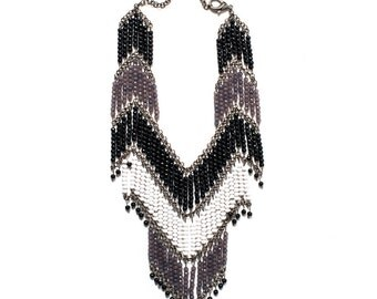 Bohemian Black & White Cascading Necklace