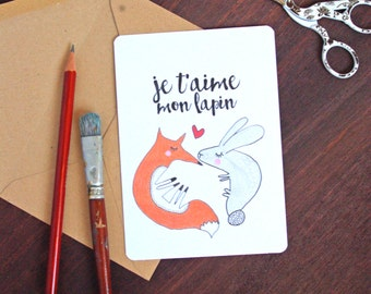 Je t'aime Love French Postcard - Free Shipping! Valentine's Day / Wedding