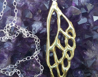 Brass Cicada Wing Necklace