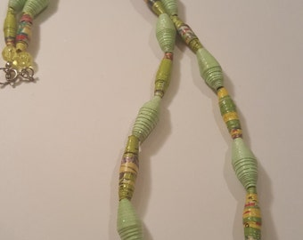 Recycled necklace - paper bead - paper necklace - recycled - paper bead necklace - Green recycled paper bead handmade necklace