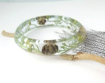 Real Flower Bangle Bracelet Size XL - Resin Bangle Resin Bracelet -  Pressed flowers Bracelet -Bangle Bracelet, Chunky bangle