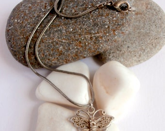SALE ITEMS: Butterfly Pendant - Necklace - Sterling Silver - Vintage Avon Jewelry