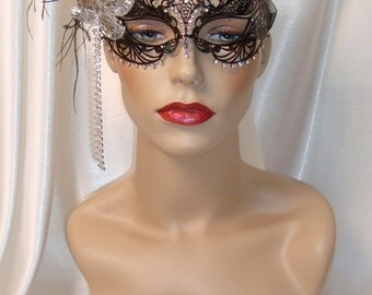 Black and Rhinestone Laser Cut Metal Mask, Venetian Mask, Mardi Gras Mask, Marie Antoinette Inspired Mask