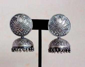 Jhumka, Sterling Silver Oxidised Antique finish, Jaipur jumka, Lotus Jhumka