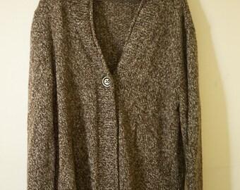 brown cardigan Twin Peaks log lady sweater grey and brown marled knit sweater 90's grunge Kurt Cobain Sweater