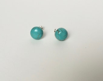 Turquoise Studs - Turquoise Earrings - Blue Studs - Blue Earrings - Blue Howlite Turquoise Cabochons Studs - Turquoise Jewelry