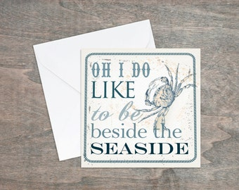 Crab card - beach card - Oh I do like - seaside greetings card