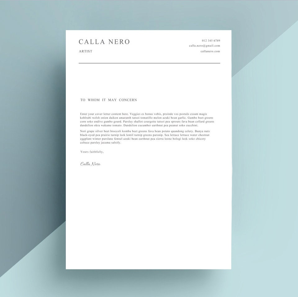 simple cover letter template cover letter by ivybaydesigns on etsy
