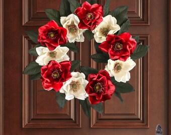 Christmas Magnolia Wreath | Holiday Wreath | Outdoor Holiday Wreath | Christmas Decorations | Holiday Porch Decor