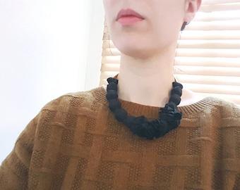 Matt Black silk necklace