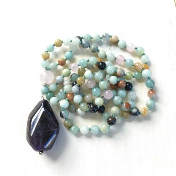 Purple Amethyst Knotted Mala Beads, Amazonite Mala Necklace,  108 Bead Knotted Mala, Unique Mala Beads, Chakra Healing Mala, Yoga Beads