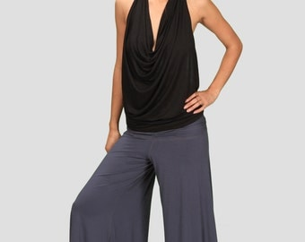Cowl Neck Backless Halter Top in Black for Womens Summer Festival Yoga Wear Wholesale Womens Clothing