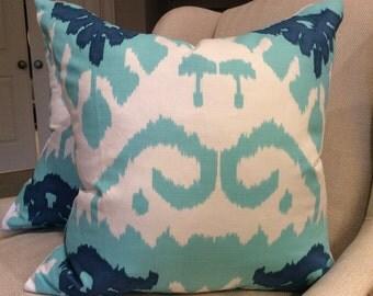 Quadrille Pillow Cover in Royal Blue, Aqua and White Kazak Linen, White Linen Backing