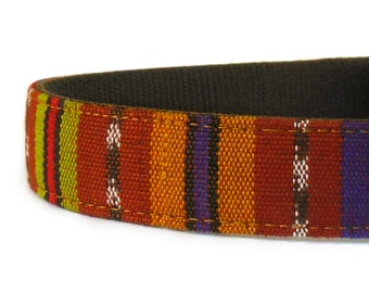 Southwest Style Dog Collar Made of a Gorgeous Hand-Woven Guatemalan Fabric is a Stunning Option to Navajo or Aztec Tribal Style Dog Collar