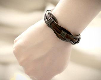 Brown Leather Bracelet Men's Women's Braided Cuff Braclet Black or Brown   BST-131