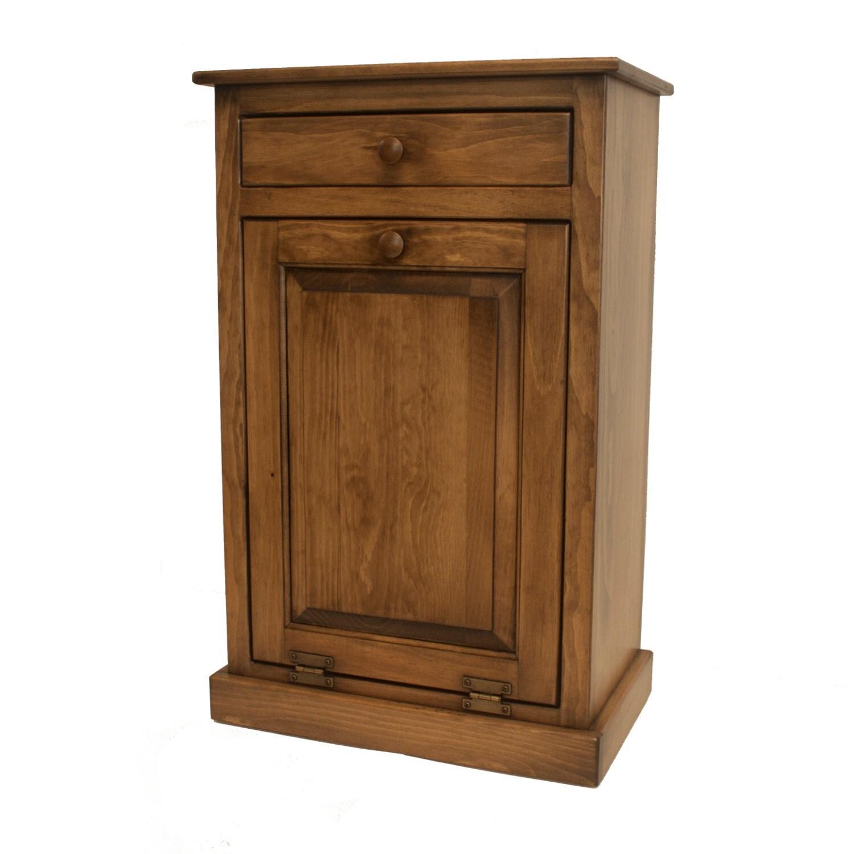 Kitchen Impressive Tilt Out Kitchen Trash Can Cabinet: Pine Tilt Out Trash Bin