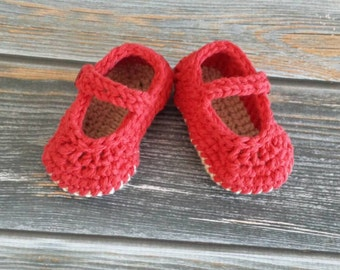 Size 4 Crochet Baby Slippers - Crochet Baby Booties- Baby Mary Jane Sandals - Infant slippers - Baby Girl Shoes
