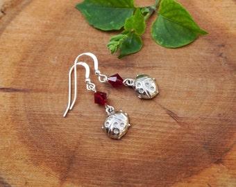 Hook Earrings,Lady Bug Earrings,Choose Your Color Birhtstone,Swarovski Earrings,Birthstone Earrings, Gift For Her, Children Earrings,Ladybug