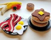 Felt Breakfast Kit, Full Breakfast Set, Pancakes, Bacon & Eggs, Felt Food, Play food