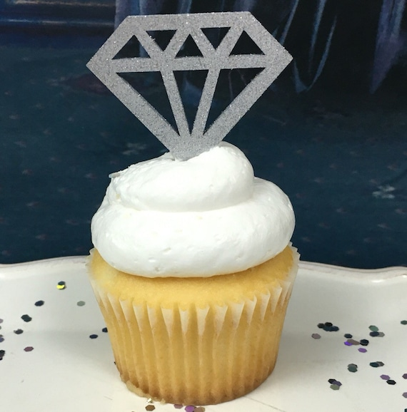 Diamond Cupcakes, Diamond Cupcake Toppers, Geometric Diamonds, Bridal Shower Decorations, Engagement Party Decor, Glitter Diamonds