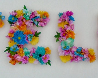"""Custom Silk Floral Letter Monogram Medium 12"""" Flower Initial in Your Choice of Colors in Paper Mâché Base."""