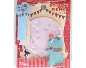 65% OFF SALE Elephant & Mouse Memo Note Set - Circus Sticky Notes - animals horse cute kawaii memo note pack, zakka reminder notes