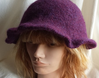 Wine Felted Wool Funky Hat