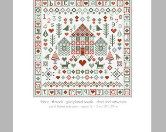 CROSS STITCH KIT House in the Woods Sampler by Riverdrift House