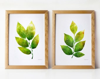Green leaves wall art set, 5x7 art prints, Nature decor Wall prints, Home decor art prints, PRINTABLE art set of 2 prints, Living room decor
