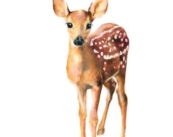 baby deer wall art, baby deer print, nursery decor fawn, baby deer art print, nursery fawn print, fawn print, forest print nursery, fawn