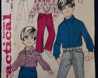 Vintage Sewing Pattern for Boy's Shirt, Trousers & Tie in Age 5-7 - Practical